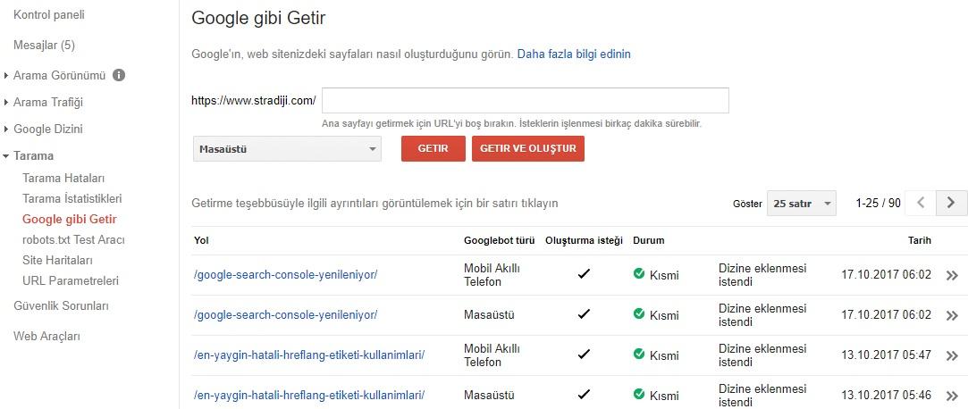 Google Search Console Tarama